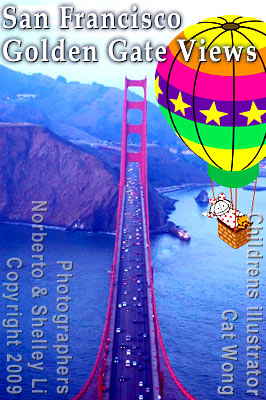Children's illustrator Cat Wong - characters Clara and Clarence Bear in hot air balloon over San Franciscos Golden Gate Bridge